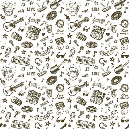 Hand drawn music seamless backround pattern