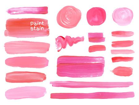 Ilustración de Set of cosmetic texture round srains isolated on white. Vector oil paint texture. Make up colors. - Imagen libre de derechos