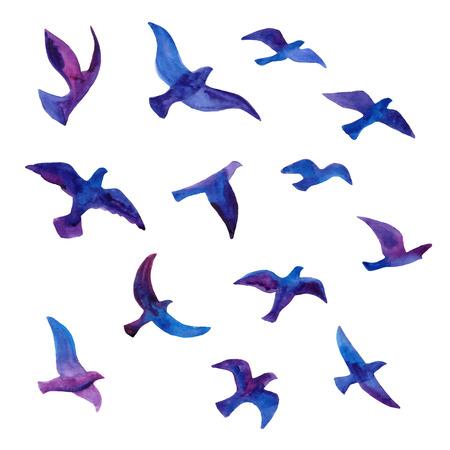 Ilustración de Hand drawn watercolor birds flock. vector illustration. - Imagen libre de derechos