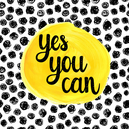 Illustration pour Yes you can. Hand drawn calligraphic motivational quote on a watercolor background. - image libre de droit
