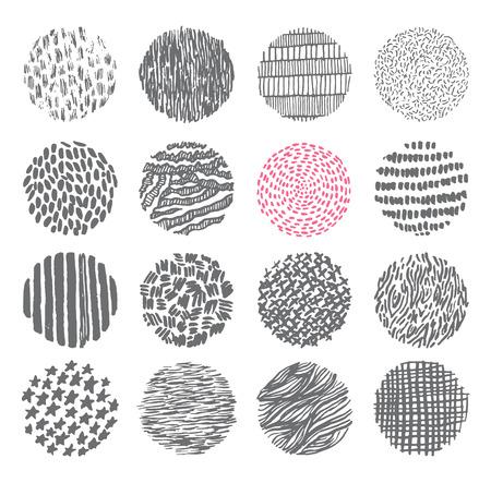Illustration pour Hand drawn circles ink textures set - image libre de droit