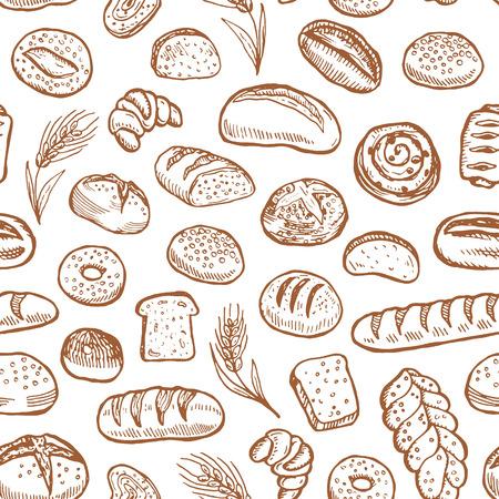 Vektor für Hand drawn bakery doodles vector seamless pattern. - Lizenzfreies Bild