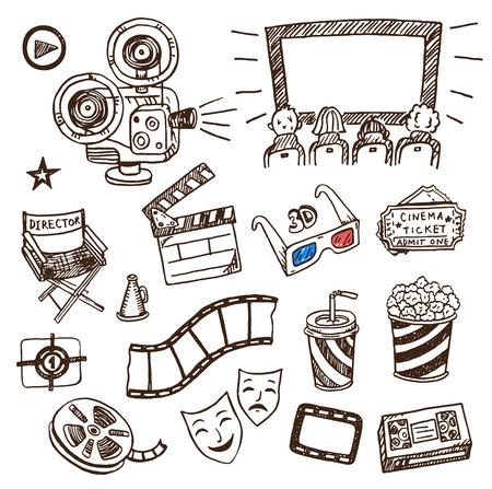 Illustration pour Hand drawn cinema icons doodle set. - image libre de droit