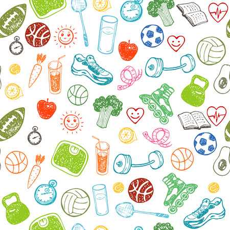 Healthy Lifestyle. Hand drawn seamless pattern. Healthy food, sport and fitness themes.