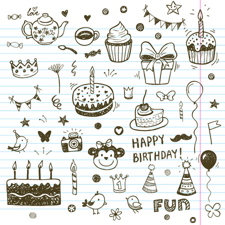 Birhday elements. Hand drawn set with birthday cakes, baloons, gift and festive attributes.