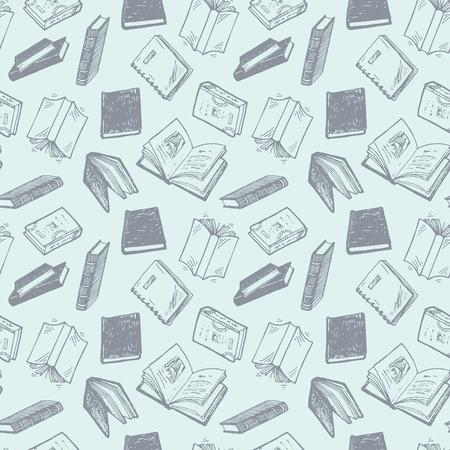 Illustration pour Seamless pattern with hand drawn books. - image libre de droit
