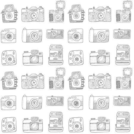 Illustration pour Seamless pattern with hand drawn retro cameras - image libre de droit
