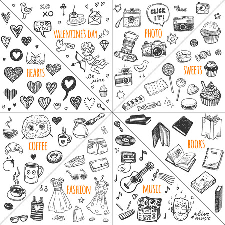 Illustration pour Mega doodle design elements vector set. Hand drawn illustrations: photo, sweets, books, hearts, Valentine`s day, music, fashion clothes, coffee. - image libre de droit