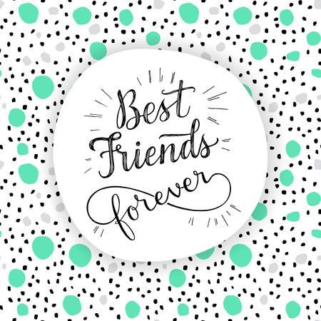 Illustration for Best Friend Forever, hand lettering phrase. Vector illustration.  Retro greeting card for friendship day - Royalty Free Image