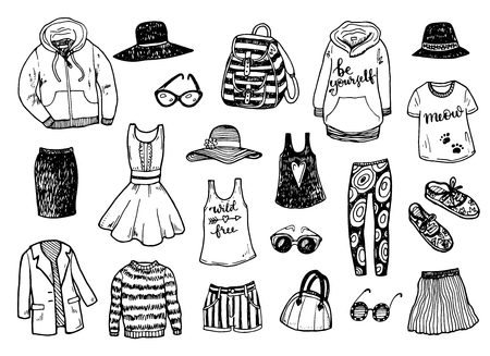 Ilustración de Hand drawn fashion clothes sketch set - Imagen libre de derechos