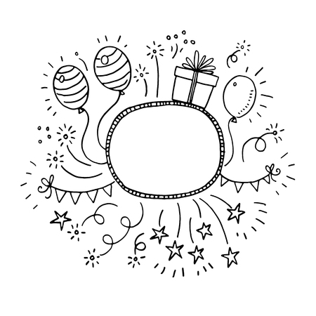 Illustration for Hand drawn doodle party frame - Royalty Free Image