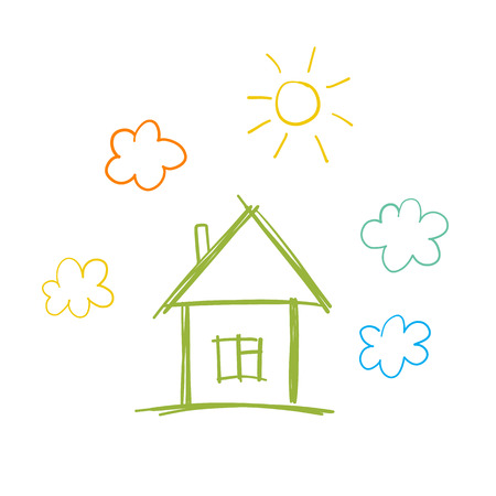 Ilustración de Doodle children drawing with house, sun and clouds - Imagen libre de derechos