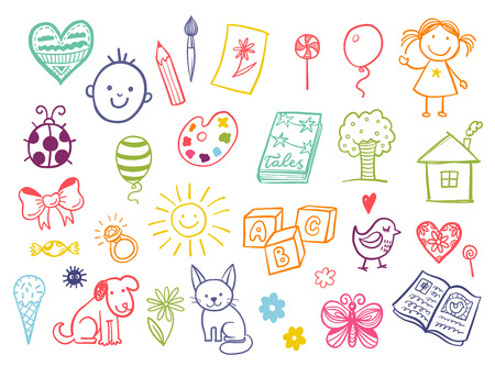 Illustration pour Funny children drawing doodle set. - image libre de droit