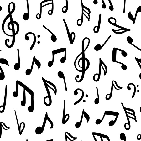 Seamless vector pattern with music notes.