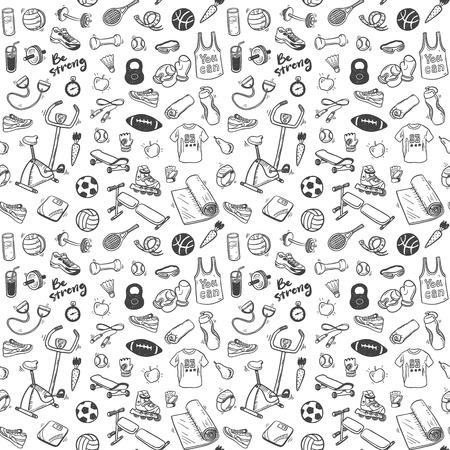 Ilustración de Seamless pattern  with sport and healthy lifestyle elements - Imagen libre de derechos