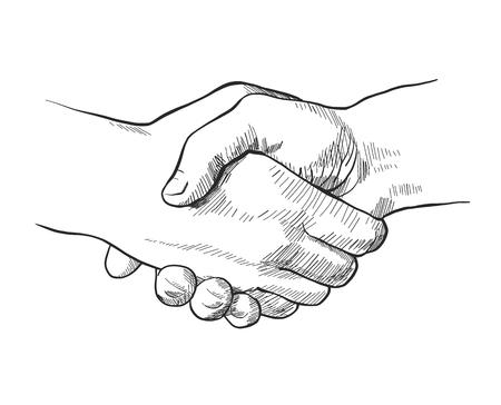 Illustration pour Hand drawn sketch illustration of a handshake - image libre de droit