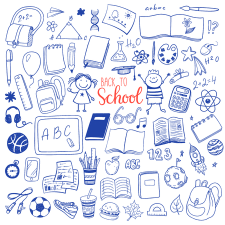 Foto de Back to school hand drawn sketch icons set. - Imagen libre de derechos
