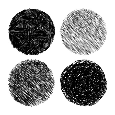 Set of hand drawn scribble circles, vector design elements collection.