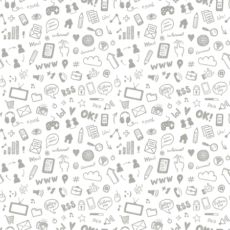 Illustration pour Social media sketch vector seamless doodle pattern - image libre de droit