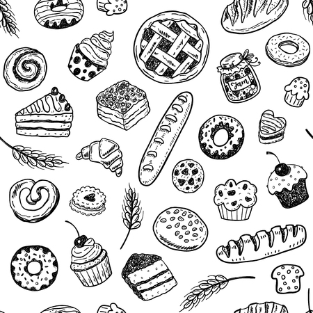 Vektor für Seamless vector pattern with hand drawn doodle bakery products and pastries - Lizenzfreies Bild
