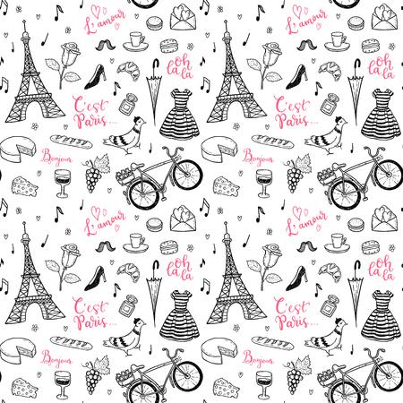 Ilustración de Seamless vector pattern with hand drawn Paris, France symbols doodles. - Imagen libre de derechos