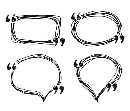 Illustration pour Hand drawn doodle quotes boxes, speech bubbles, sketch vector frames - image libre de droit