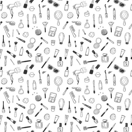 Illustration pour Seamless pattern with hand drawn beauty, make up, cosmetic doodles, isolated vector background - image libre de droit