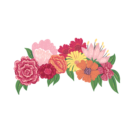 Ilustración de Vector illustration of a floral head wreath isolated on a white background. - Imagen libre de derechos