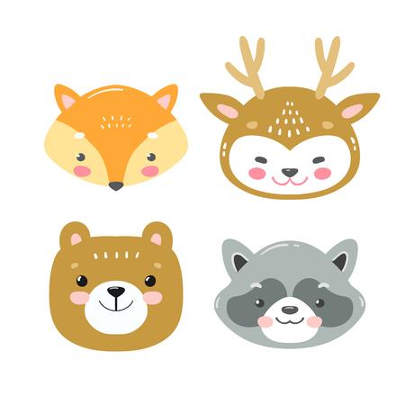 Foto de Set of vector woodland animals in cartoon style. Cute smiley fox, deer, bear and racoon faces - Imagen libre de derechos