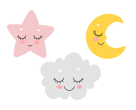 Illustration pour Vector illustration of cute sleeping cloud, moon and star. Scandinavian nursery print design. - image libre de droit