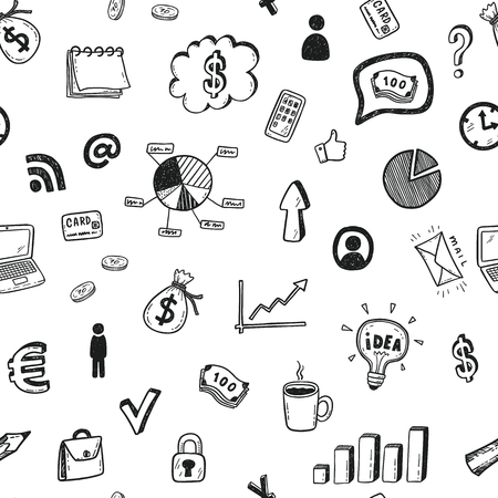 Illustration for Seamless vector pattern with hand drawn business doodle icons set. - Royalty Free Image