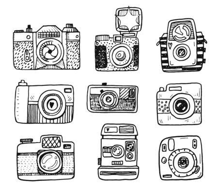 Illustration for Hand drawn doodle retro photo cameras set - Royalty Free Image