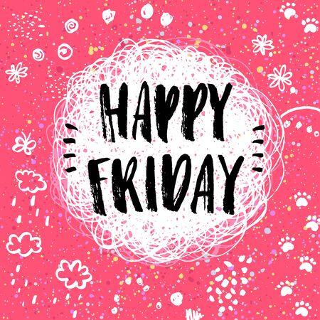 Illustration pour Happy Friday! hand drawn doodle lettering - image libre de droit
