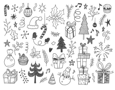 Illustration pour Hand drawn vector illustration set of New year and Christmas sign and symbol doodles elements. Pattern set with snowman, fir-trees, snowflakes, cakes, gift boxes. - image libre de droit
