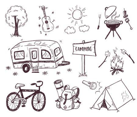 Illustration pour Hand drawn doodle camping vector elements, icons set with bonfire, adventure, hiking and touristic equipment - image libre de droit