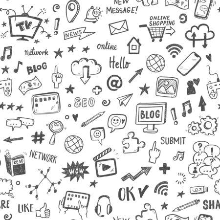 Illustration for Social media sketch vector seamless doodle pattern. - Royalty Free Image