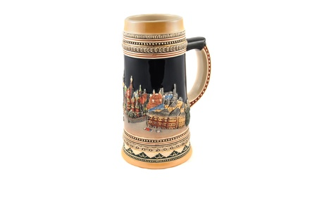 Ceramic mug for beer, decorated in ethnic style