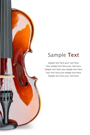 Close up of shiny violin on white background, with sample text