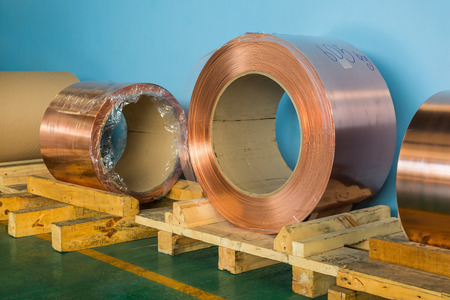 Copper rolled products or copper foil sheet in storage area, conductor raw material for transformer manufacturing
