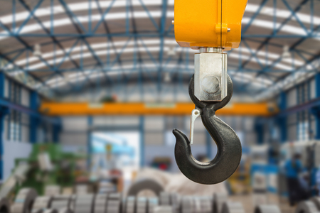 Metallic industrial hook for lifting heavy thing in the factory
