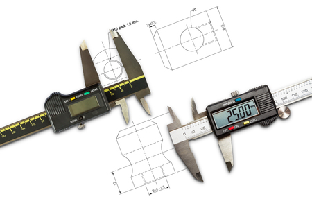 Photo pour Digital vernier calipers, isolated on drawing background - image libre de droit