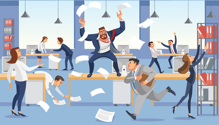 Illustration pour Angry boss shout in chaos office, stressed vector cartoon characters. - image libre de droit