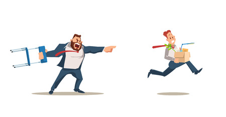 Dismissed, Loss Job. Angry Boss Dismiss Employee. Office Worker Fired for Bad Work. Unemployment and Job Reduction Concept. Bad Working Day. Fired Man carrying Box. Vector Illustration Flat style.