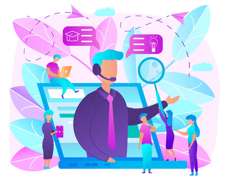 Ilustración de Online Education Bright Colors Flat Vector Concept. Using Internet Technologies to Get Knowledge with Distant Learning. Distance Courses, Self-Education with Tutorials, Webinars or Workshops Online - Imagen libre de derechos