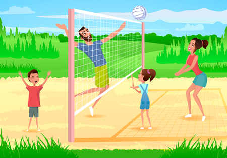 Illustration pour Family Playing Volleyball Cartoon Vector Illustration with Happy Parents Having Fun when Playing with Kids on Sports Playground. Sport Games with Family in City Park, Physical Activity Outdoors - image libre de droit