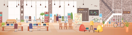 Illustration pour Office Interior and Workspace. Modern Office Desktop in Coworking Workspace. Optimization of Workplace. Open Space Office with Furniture. Working Space with Furniture. Flat Vector Illustration. - image libre de droit