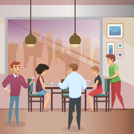 Illustration pour Restaurant, Bar or Pub Clients Flat Vector Illustration with Men and Women Characters, Talking and Drinking Alcohol Drinks at Table. Home Party Concept with Relatives Gathering Together on Celebration - image libre de droit