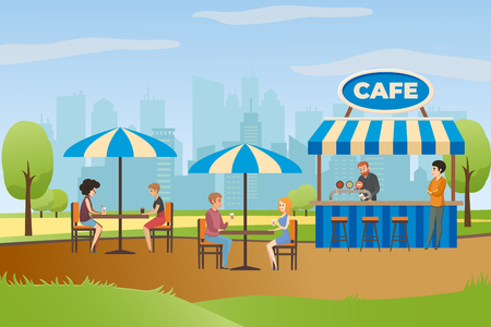 Illustration pour People Resting and Drinking Beverages in Street Cafe or Fast Food Bar in City Park Flat Vector. Summer Outdoor Restaurant with Bar Counter under Canopy and Tables with Umbrellas. Small Local Business - image libre de droit