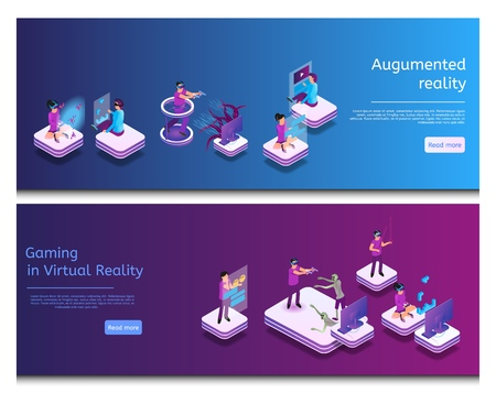 Illustration pour Isometric Online Communicating, Virtual Gaming. Banner Set Image Augumented Reality, Gaming in Virtual Reality. Group Men and Women Play Video Game Using Virtual Reality Glasses, Chat Online. - image libre de droit