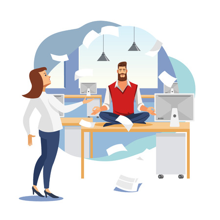 Illustration pour Keeping Calm and Balance in Work Flat Vector Concept with Businessman or Company Employee Meditating on Work Desk in Office with Angry Female Boss or Colleague Arguing Because of Mess in Papers - image libre de droit